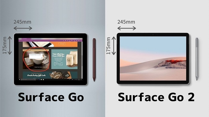 Surface Go と Surface Go 2 違いの比較