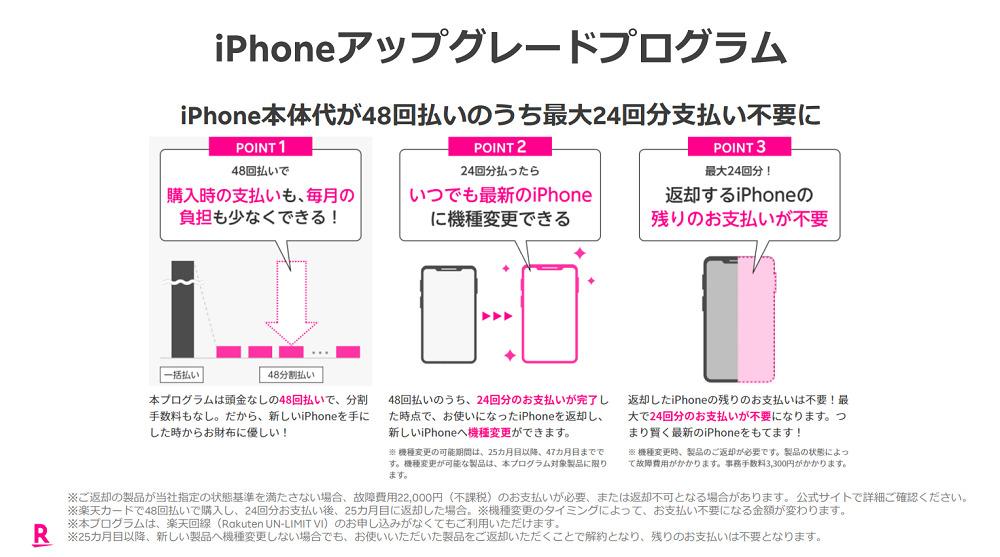 iPhone アップグレードプログラム 楽天モバイル